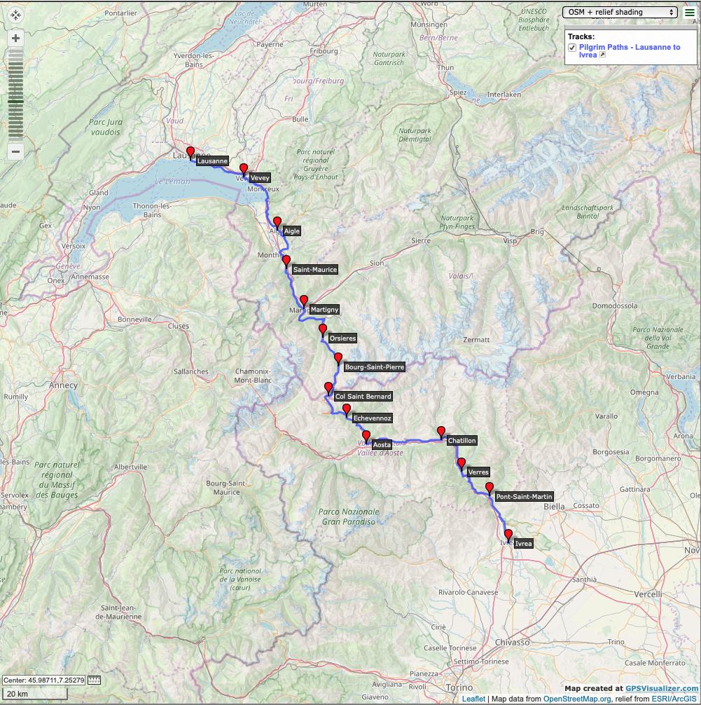 Pilgrim-Paths-Lausanne-Ivrea-Map